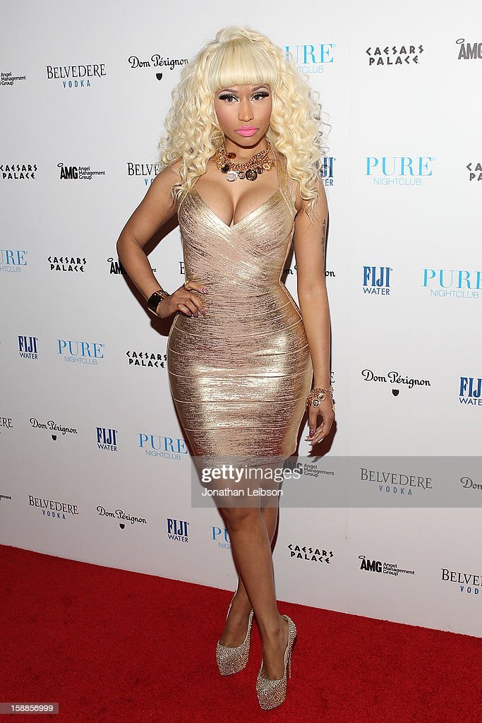 <a gi-track='captionPersonalityLinkClicked' href=/galleries/search?phrase=Nicki+Minaj+-+Artist&family=editorial&specificpeople=6362705 ng-click='$event.stopPropagation()'>Nicki Minaj</a> arrives to New Year's Eve At PURE Nightclub on December 31, 2012 in Las Vegas, Nevada.