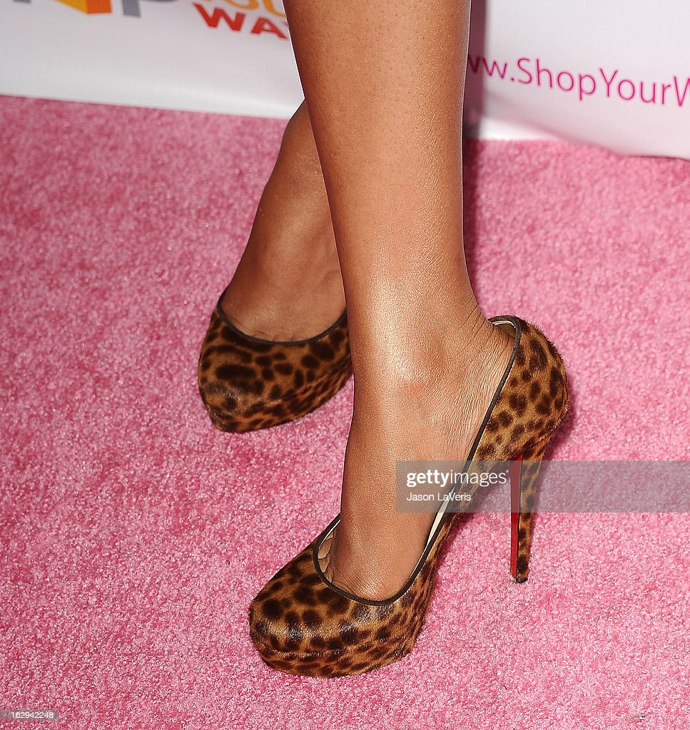 Nicki Minaj (shoe detail) attends a sneak peak of her Kmart collection at Fig & Olive Melrose Place on March 1, 2013 in West Hollywood, California.