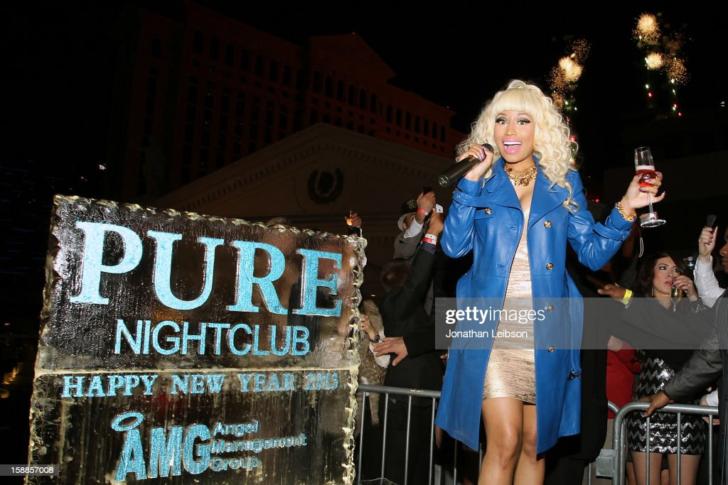 <a gi-track='captionPersonalityLinkClicked' href=/galleries/search?phrase=Nicki+Minaj+-+Artista&family=editorial&specificpeople=6362705 ng-click='$event.stopPropagation()'>Nicki Minaj</a> attends New Year's Eve At PURE Nightclub on December 31, 2012 in Las Vegas, Nevada.