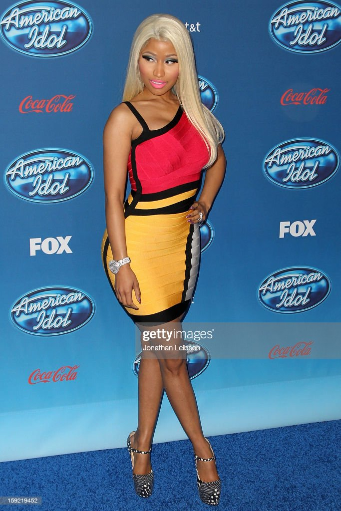 <a gi-track='captionPersonalityLinkClicked' href=/galleries/search?phrase=Nicki+Minaj+-+Artiste+de+spectacle&family=editorial&specificpeople=6362705 ng-click='$event.stopPropagation()'>Nicki Minaj</a> attends the FOX's 'American Idol' Season 12 Premiere at Royce Hall on the UCLA Campus on January 9, 2013 in Westwood, California.