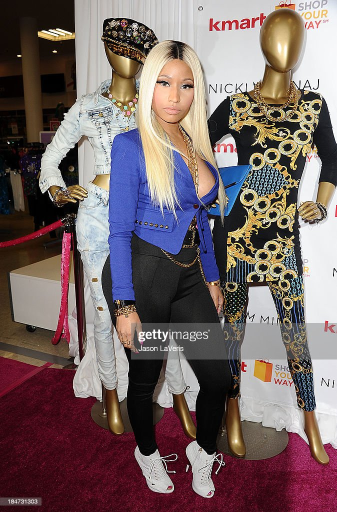 <a gi-track='captionPersonalityLinkClicked' href=/galleries/search?phrase=Nicki+Minaj+-+Performer&family=editorial&specificpeople=6362705 ng-click='$event.stopPropagation()'>Nicki Minaj</a> attends the launch of the <a gi-track='captionPersonalityLinkClicked' href=/galleries/search?phrase=Nicki+Minaj+-+Performer&family=editorial&specificpeople=6362705 ng-click='$event.stopPropagation()'>Nicki Minaj</a> Collection at KMart on October 15, 2013 in Los Angeles, California.
