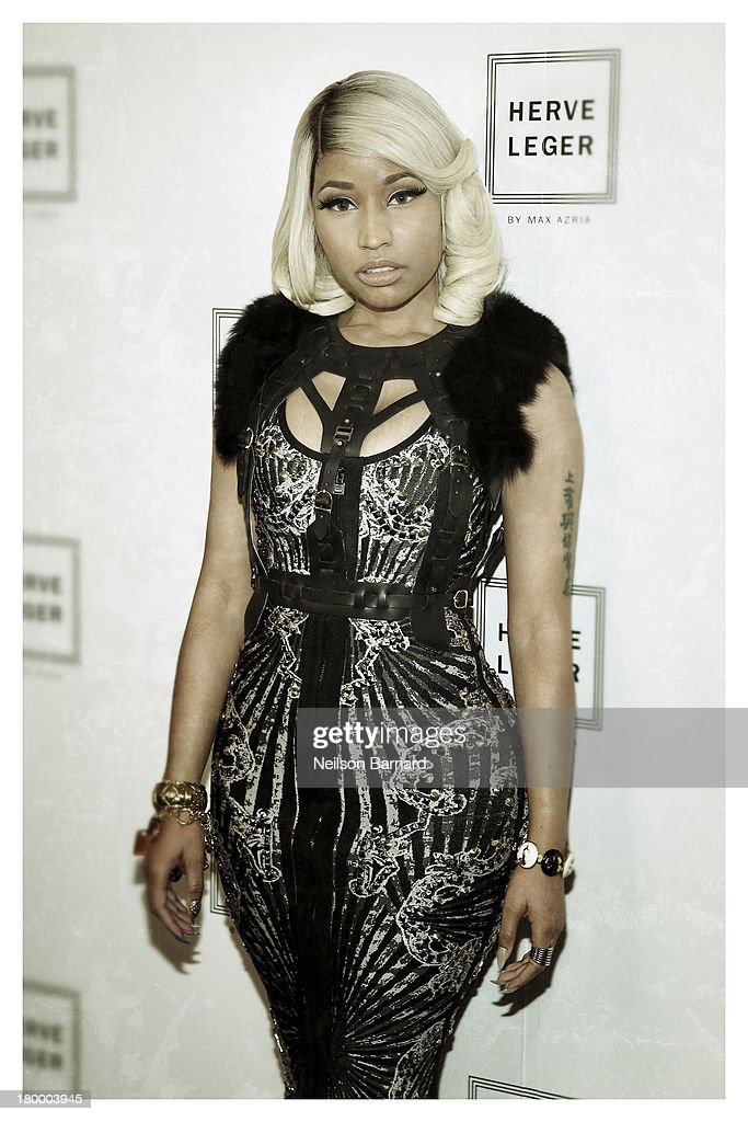 Nicki Minaj backstage at Herve Leger By Max Azria fashion show during Mercedes-Benz Fashion Week Spring 2014 on September 7, 2013 in New York City.