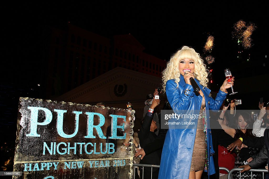 <a gi-track='captionPersonalityLinkClicked' href=/galleries/search?phrase=Nicki+Minaj+-+Artista&family=editorial&specificpeople=6362705 ng-click='$event.stopPropagation()'>Nicki Minaj</a> Celebrates New Year's Eve At PURE Nightclub on December 31, 2012 in Las Vegas, Nevada.