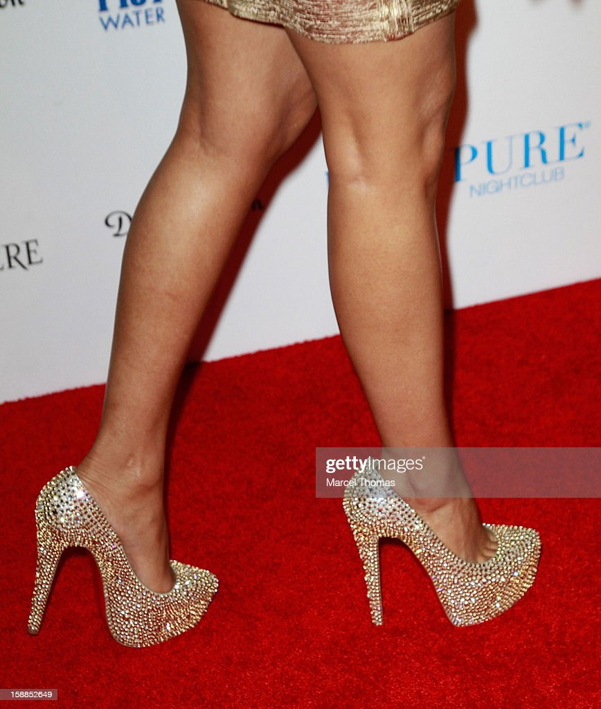 Nicki Minaj (shoe detail) hosts New Year's Eve at the Pure Nightclub at Caesars Palace on December 31, 2012 in Las Vegas, Nevada.