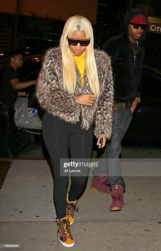 Nicki Minaj is seen at Boa restaurant on January 15, 2013 in Los Angeles, California.