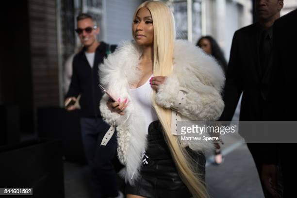 Nicki Minaj is seen attending Monse during New York Fashion Week wearing a white fur coat and black skirt on September 8 2017 in New York City