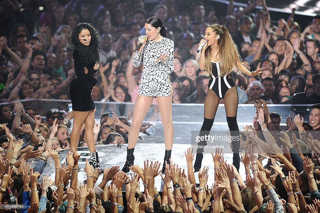 Nicki Minaj, Jessie J and Ariana Grande onstage at the 2014 MTV Video Music Awards at The Forum on August 24, 2014 in Inglewood, California.