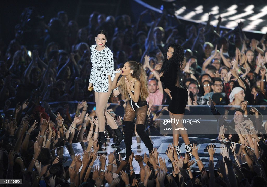 Nicki Minaj, Jessie J and Ariana Grande perform onstage at the 2014 MTV Video Music Awards at The Forum on August 24, 2014 in Inglewood, California.