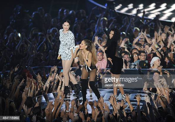Nicki Minaj Jessie J and Ariana Grande perform onstage at the 2014 MTV Video Music Awards at The Forum on August 24 2014 in Inglewood California