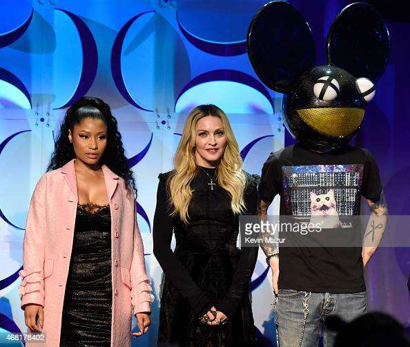 Nicki Minaj Madonna and Deadmau5 attend the Tidal launch event #TIDALforALL at Skylight at Moynihan Station on March 30 2015 in New York City