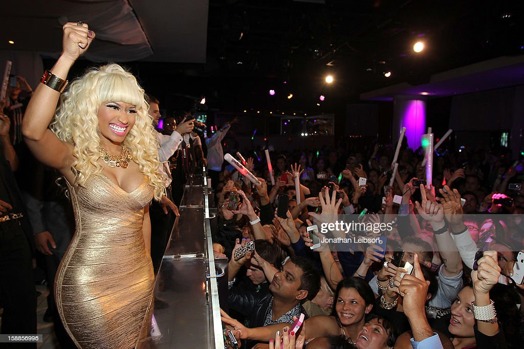 <a gi-track='captionPersonalityLinkClicked' href=/galleries/search?phrase=Nicki+Minaj+-+Artist&family=editorial&specificpeople=6362705 ng-click='$event.stopPropagation()'>Nicki Minaj</a> performs at New Year's Eve At PURE Nightclub on December 31, 2012 in Las Vegas, Nevada.