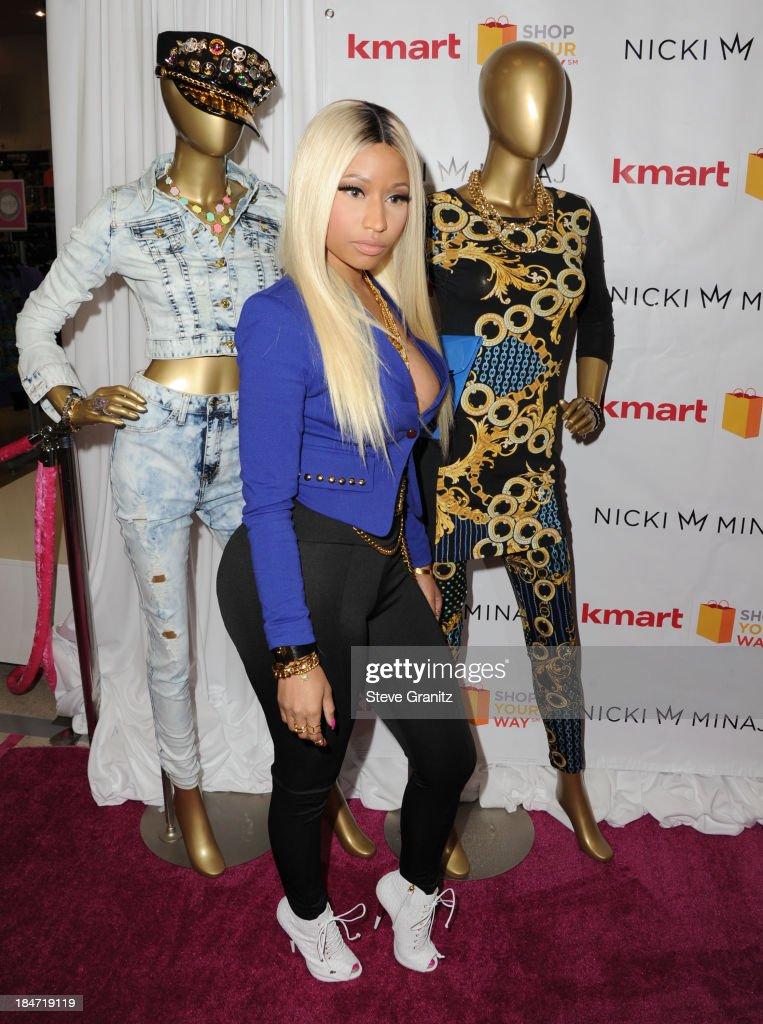 <a gi-track='captionPersonalityLinkClicked' href=/galleries/search?phrase=Nicki+Minaj+-+Performer&family=editorial&specificpeople=6362705 ng-click='$event.stopPropagation()'>Nicki Minaj</a> poses at the Kmart And Shop Your Way Celebrate Launch Of <a gi-track='captionPersonalityLinkClicked' href=/galleries/search?phrase=Nicki+Minaj+-+Performer&family=editorial&specificpeople=6362705 ng-click='$event.stopPropagation()'>Nicki Minaj</a> Collection at KMart on October 15, 2013 in Los Angeles, California.