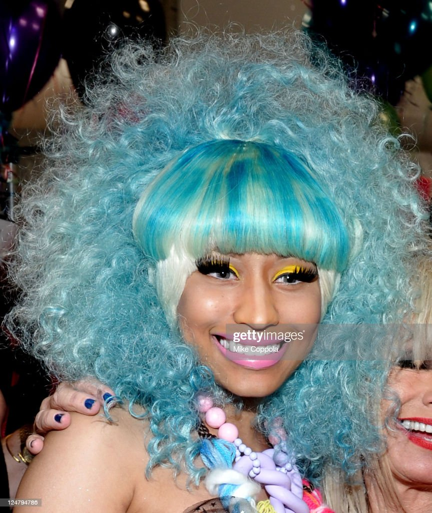 Nicki Minaj poses backstage at the Betsey Johnson Spring 2012 fashion show during MercedesBenz Fashion Week at The Theater at Lincoln Center on...
