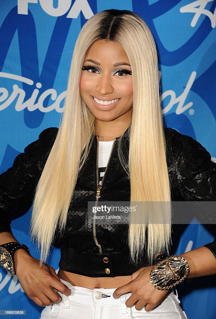 <a gi-track='captionPersonalityLinkClicked' href=/galleries/search?phrase=Nicki+Minaj+-+K%C3%BCnstlerin&family=editorial&specificpeople=6362705 ng-click='$event.stopPropagation()'>Nicki Minaj</a> poses in the press room at the American Idol 2013 finale at Nokia Theatre L.A. Live on May 16, 2013 in Los Angeles, California.