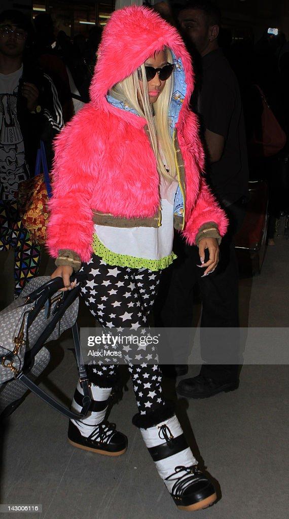 Nicki Minaj Seen Arriving At Heathrow Airport on April 17 2012 in London England