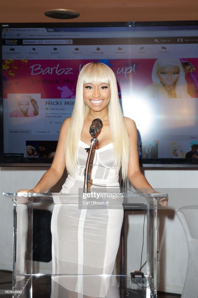 <a gi-track='captionPersonalityLinkClicked' href=/galleries/search?phrase=Nicki+Minaj+-+Performer&family=editorial&specificpeople=6362705 ng-click='$event.stopPropagation()'>Nicki Minaj</a> serves as host for the 'Shop Your Way' Lauch Party at Fig & Olive Melrose Place on March 1, 2013 in West Hollywood, California.