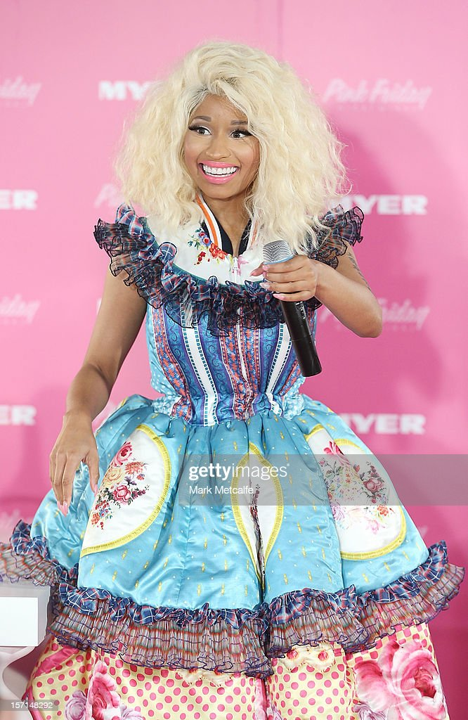 Nicki Minaj talks during an event to celebrate the launch of her new perfume at Myer Sydney City on November 29, 2012 in Sydney, Australia.