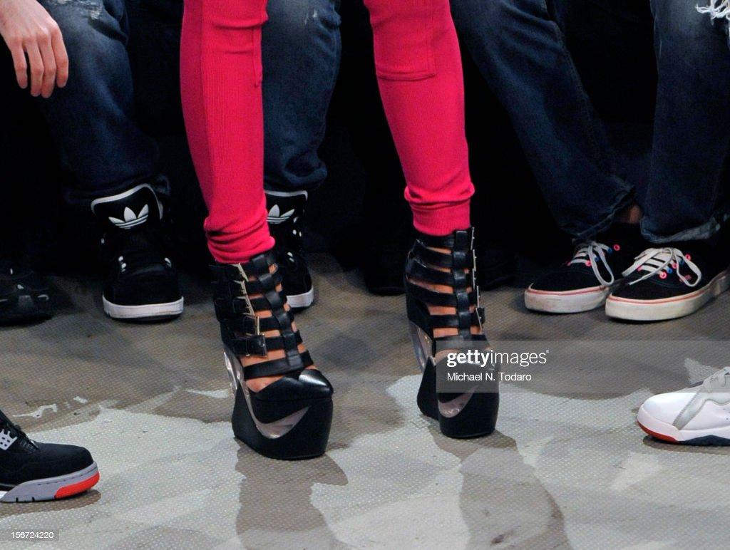 Nicki Minaj (shoe detail) visits BET's 106 & Park at 106 & Park Studio on November 19, 2012 in New York City.