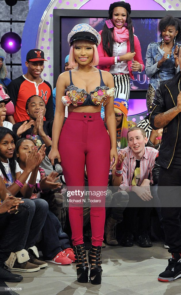 <a gi-track='captionPersonalityLinkClicked' href=/galleries/search?phrase=Nicki+Minaj+-+Performer&family=editorial&specificpeople=6362705 ng-click='$event.stopPropagation()'>Nicki Minaj</a> visits BET's 106 & Park at 106 & Park Studio on November 19, 2012 in New York City.