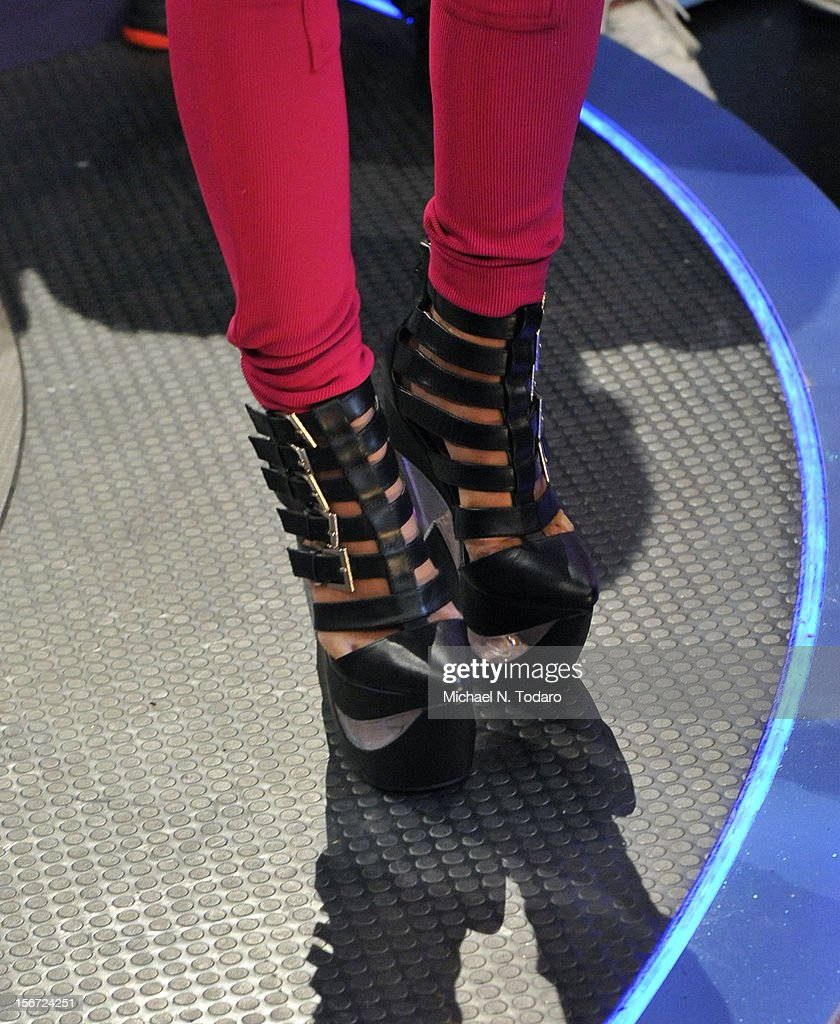 <a gi-track='captionPersonalityLinkClicked' href=/galleries/search?phrase=Nicki+Minaj+-+Performer&family=editorial&specificpeople=6362705 ng-click='$event.stopPropagation()'>Nicki Minaj</a> (shoe detail) visits BET's 106 & Park at 106 & Park Studio on November 19, 2012 in New York City.