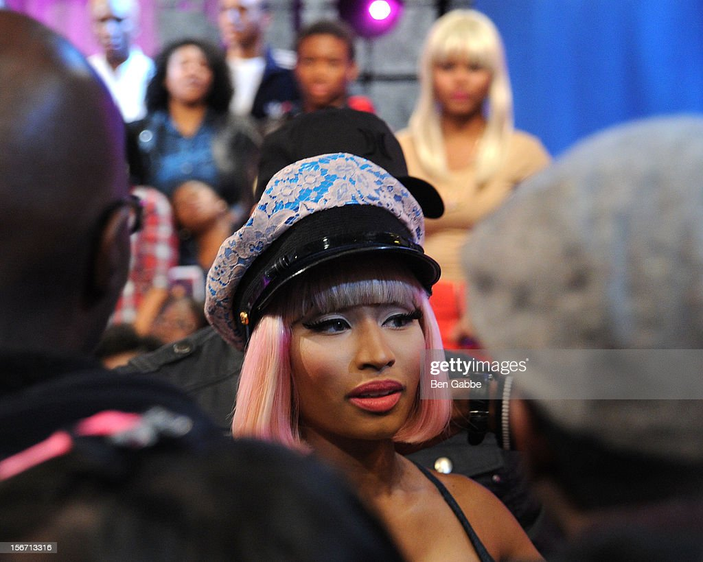 <a gi-track='captionPersonalityLinkClicked' href=/galleries/search?phrase=Nicki+Minaj+-+Performer&family=editorial&specificpeople=6362705 ng-click='$event.stopPropagation()'>Nicki Minaj</a> visits BET's 106 & Park Studio on November 19, 2012 in New York City.