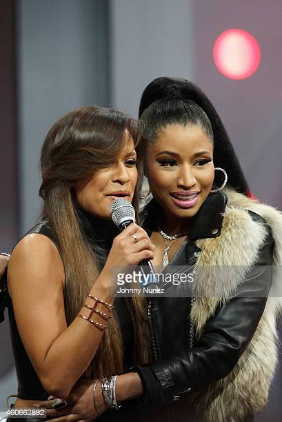 Nicki Minaj visits BET's '106 Park' with host Rocsi at BET Studios on December 18 in New York City