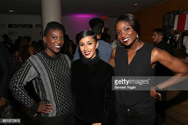 Nicki Ogunnaike Cardi B and Lola Ogunnaike attend the Being Mary Jane premiere screening and party on January 9 2017 in New York City
