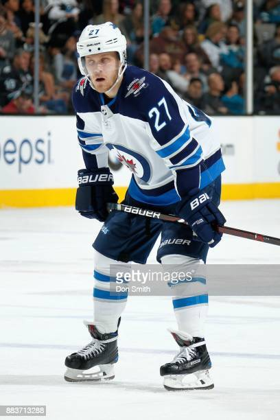 Nicklaj Ehlers of the Winnipeg Jets looks during a NHL game against the San Jose Sharks at SAP Center on November 25 2017 in San Jose California