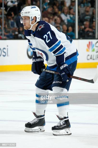 Nicklaj Ehlers of the Winnipeg Jets looks on during a NHL game against the San Jose Sharks at SAP Center on November 25 2017 in San Jose California