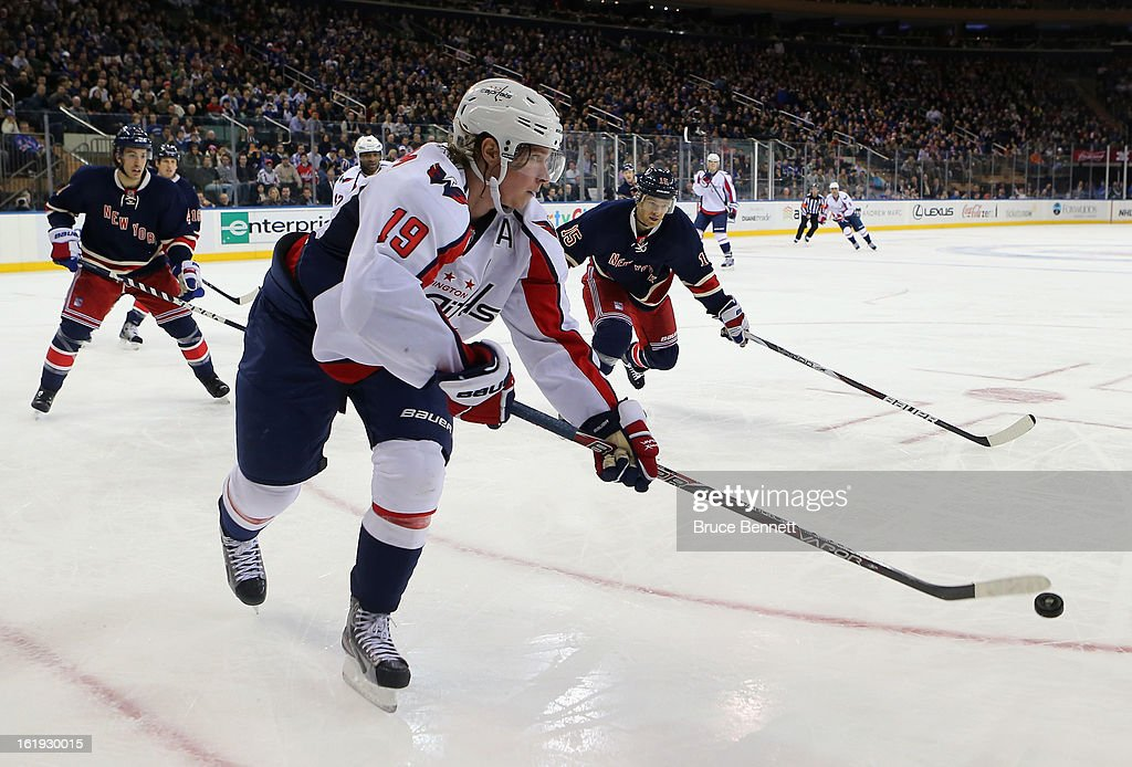 Nicklas Backstrom #19 of the Washington Capitals carries the puck against the New York Rangers at Madison Square Garden on February 17, 2013 in New York City. The Rangers defeated the Capitals 2-1.