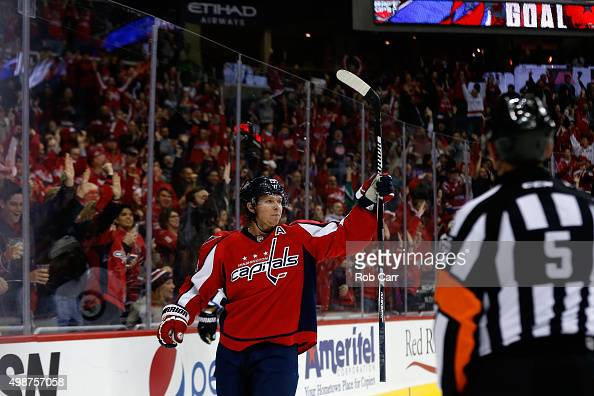 Nicklas Backstrom of the Washington Capitals celebrates after scoring a goal against the Winnipeg Jets in the second period at Verizon Center on...