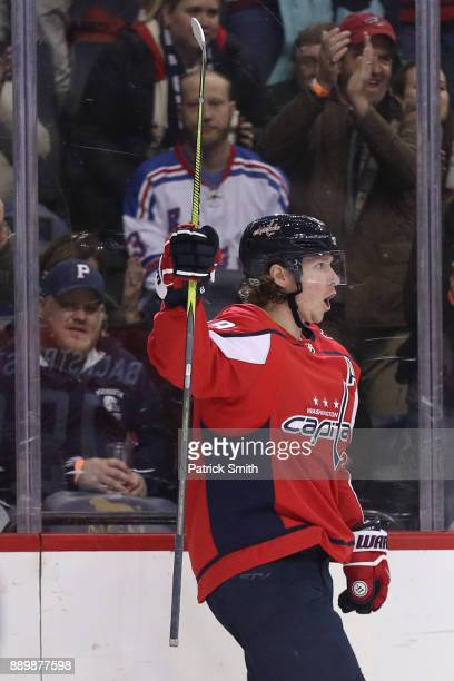 Nicklas Backstrom of the Washington Capitals celebrates after scoring a goal against the New York Rangers during the second period at Capital One...