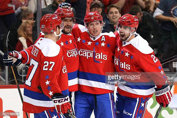 Nicklas Backstrom of the Washington Capitals celebrates his goal with teammates against the Philadelphia Flyers during the second period at Verizon...