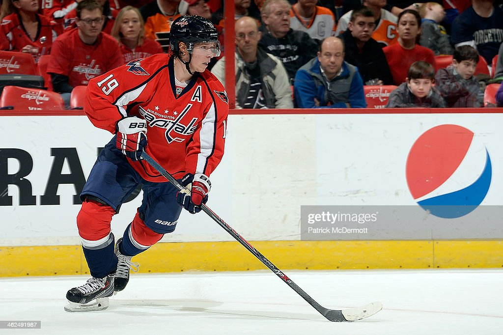 Nicklas Backstrom of the Washington Capitals controls the puck in the first period during an NHL game against the Philadelphia Flyers at Verizon...