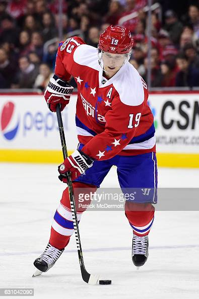 Nicklas Backstrom of the Washington Capitals controls the puck in the second period during an NHL game against the Columbus Blue Jackets at Verizon...