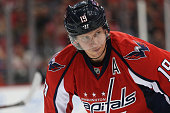 Nicklas Backstrom of the Washington Capitals looks on against the Edmonton Oilers at Verizon Center on November 23 2015 in Washington DC