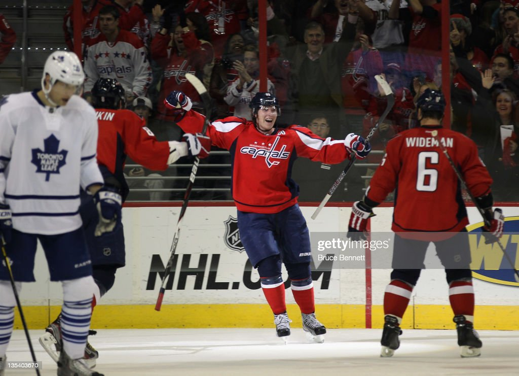 Nicklas Backstrom of the Washington Capitals scores a powerplay goal at 1850 of the second period against the Toronto Maple Leafs at the Verizon...
