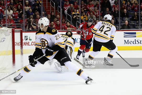 Nicklas Backstrom of the Washington Capitals scores the game winning goal against the Boston Bruins in overtime to give the Capitals a 43 win at...