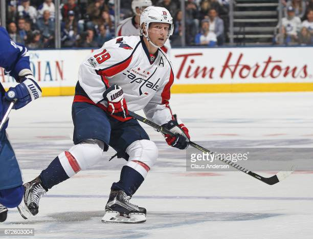 Nicklas Backstrom of the Washington Capitals skates against the Toronto Maple Leafs in Game Six of the Eastern Conference Quarterfinals during the...