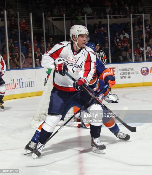 Nicklas Backstrom of the Washington Capitals skates against the New York Islanders at the Nassau Veterans Memorial Coliseum on April 5 2014 in...