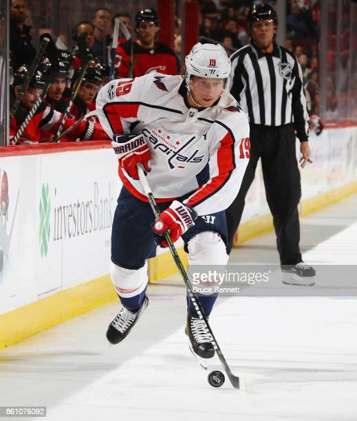Nicklas Backstrom of the Washington Capitals skates against the New Jersey Devils at the Prudential Center on October 13 2017 in Newark New Jersey...