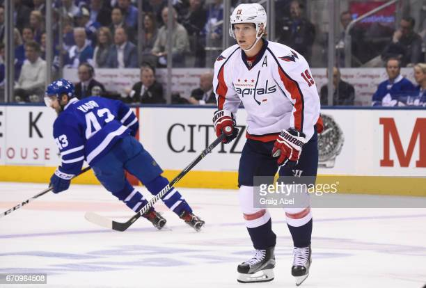 Nicklas Backstrom of the Washington Capitals skates against the Toronto Maple Leafs during the first period in Game Three of the Eastern Conference...