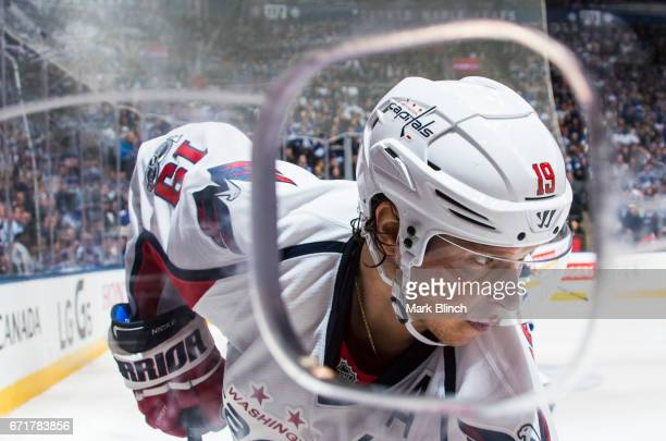 Nicklas Backstrom of the Washington Capitals skates against the Toronto Maple Leafs during the second period in Game Four of the Eastern Conference...