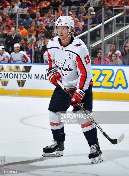 Nicklas Backstrom of the Washington Capitals skates during the game against the Edmonton Oilers on October 28 2017 at Rogers Place in Edmonton...