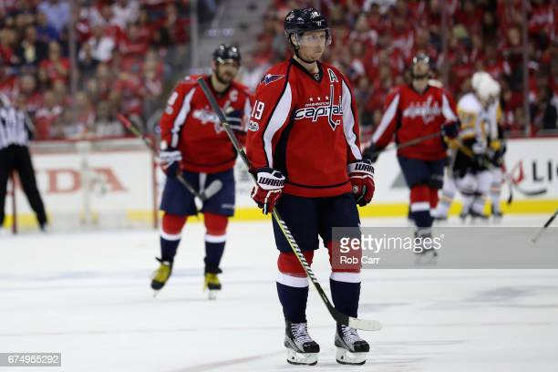 Nicklas Backstrom of the Washington Capitals skates off the ice after the Pittsburgh Penguins scored a second period goal in Game Two of the Eastern...