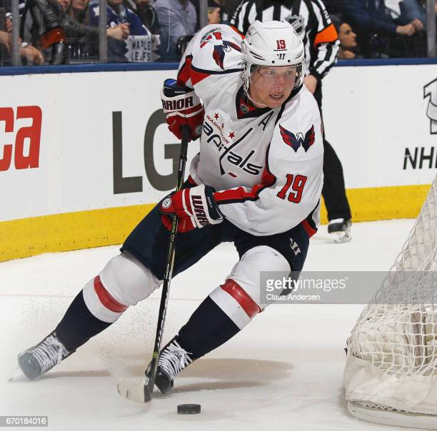 Nicklas Backstrom of the Washington Capitals skates with the puck against the Toronto Maple Leafs in Game Three of the Eastern Conference...