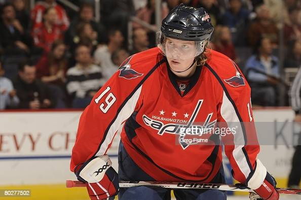 Nicklas Backstrom of the Washington Capitals waits for a face off against the Calgary Flames at the Verizon Center on March 12 2008 in Washington DC