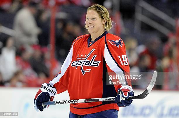 Nicklas Backstrom of the Washington Capitals warms up before the game against the Ottawa Senators at the Verizon Center on March 30 2010 in...