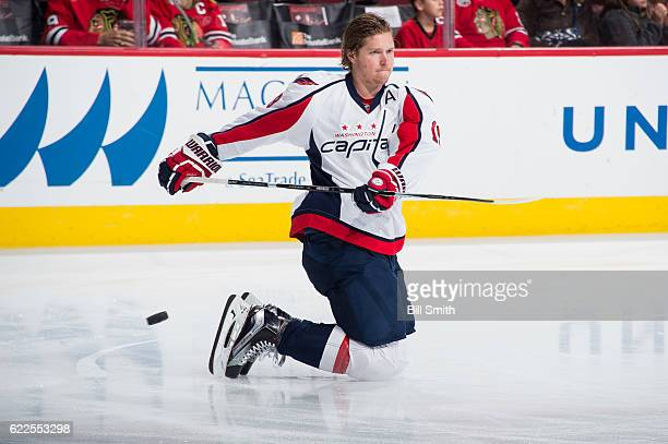 Nicklas Backstrom of the Washington Capitals warms up prior to the game against the Chicago Blackhawks at the United Center on November 11 2016 in...