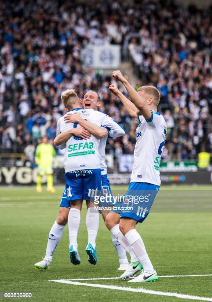 Nicklas Barkroth and Andreas Johansson of IFK Norrkoping celebrates after scoring 10 during the Allsvenskan match between IFK Norrkoping and Hammarby...